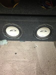 """2 x Alpine Type E 10"""" subs in carpeted box"""