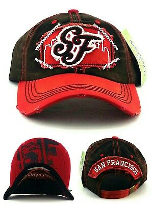 50c0e9b985f44f San Francisco SF New Leader Ladies Women Vintage 49ers Black Red Era Hat Cap