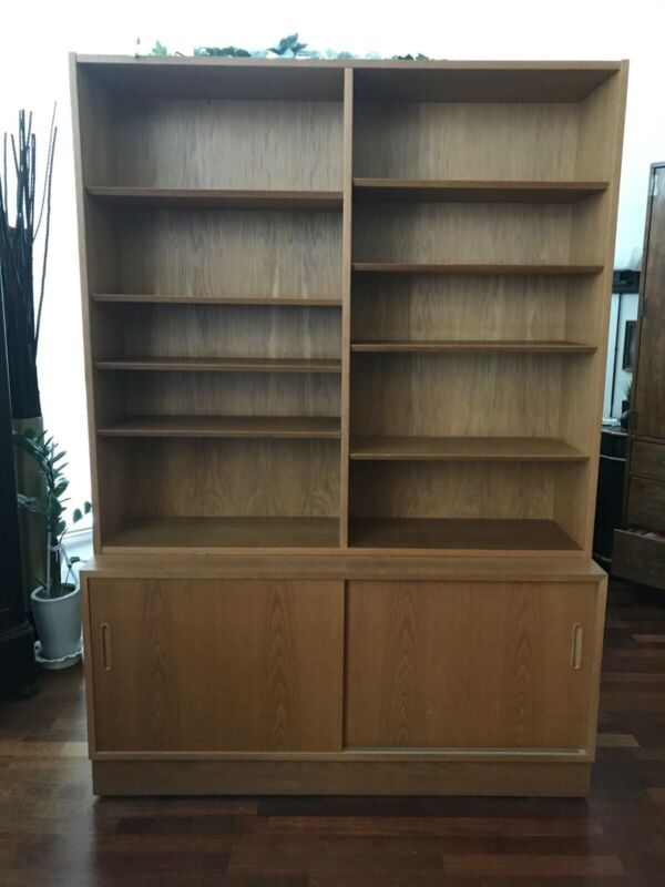POUL HUNDEVAD MARKED DANISH MODERN TEAK TWO PIECE BOOKCASE CABINET. SEE PICTURES