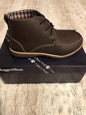 BOYS BROWN/BEIGE LACE UP ANKLE DRESS OR CASUAL UP BOOT - Boys Brown Dress Shoes