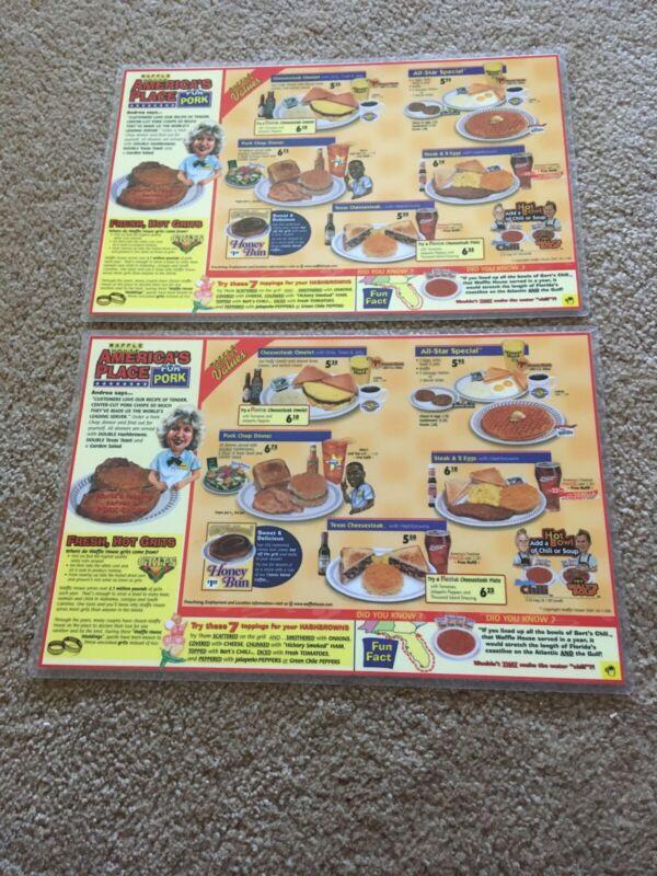 2001 Waffle House Laminated Menu Placemats