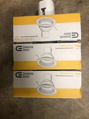 3 Pack Commercial Electric 5 White Baffle Trim Recessed Can Light T39 Lot R30