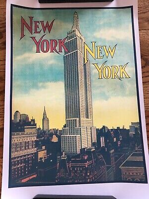 Vtg Style New York NYC Empire State Building Canvas Ad Poster 11x17 Travel Decor