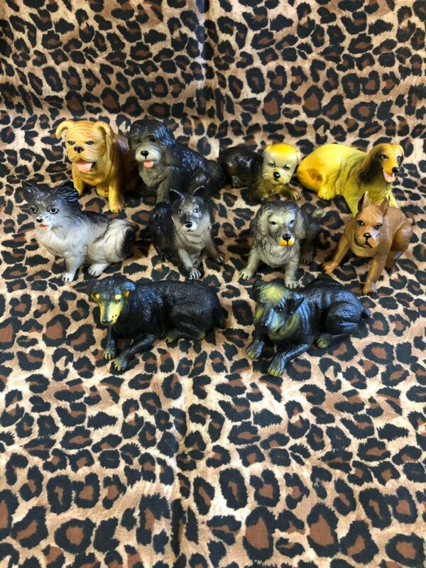 Vintage Lot 10 NEW-RAY Rubber Plastic Dog Toy Figurine Collection Boxer Spaniel