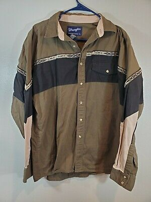 1970s Mens Shirt Styles – Vintage 70s Shirts for Guys 1970s Style Vintage Wrangler Western Shirt Large Aztec Men's Snap Up Top $22.49 AT vintagedancer.com