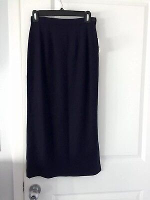 Gianni Navy Blue Skirt Fully Lined Side Split Left Side  Size 4P Retail $118 NWT