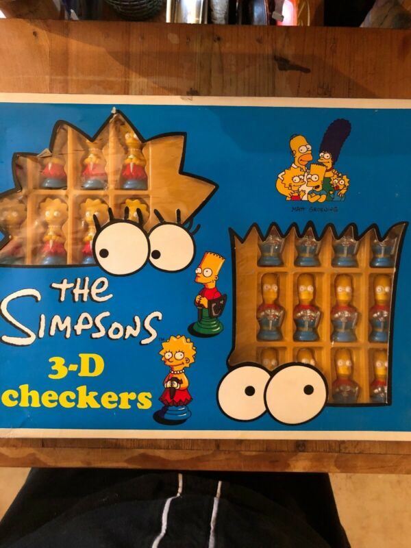 The Simpsons 3-D Checkers with Bart & Lisa Figures  LN Collectors NEVER USED