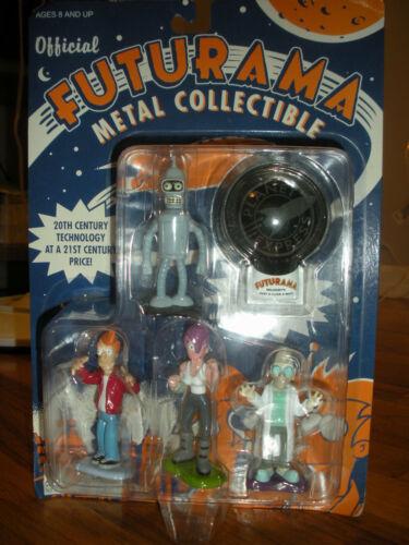 Futurama Metal Collection Fry Leela Bender Hubert Farnsworth Vintage 2000 Sealed