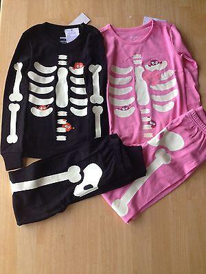 NWT Gymboree Halloween SKELETON Gymmies Glow In The Dark Costume Boys Girls - Boys Skeleton Pajamas