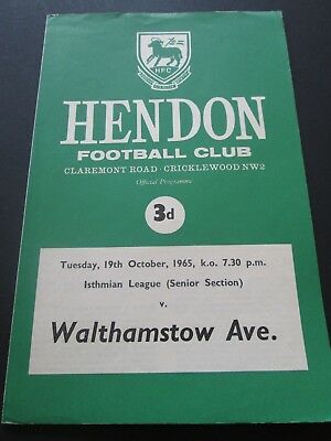 Football Programme - Hendon v Walthamstow Avenue 19/10/1965