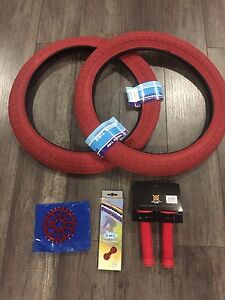 Brand new BMX RED Parts set 2.3 Tires 25t Sprocket Grips Chain