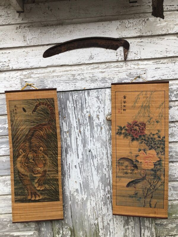 Vintage Asian Bamboo Tiger And Fish Scrolls