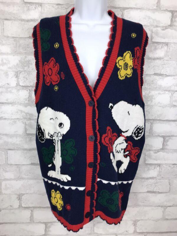 Vintage Snoopy and Friends Sweater Vest Cardigan Peanuts Size Medium