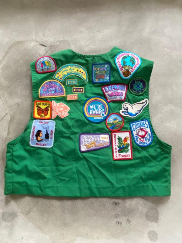Lot 23 Girl Scout Emblems Patches Pins Vintage 1991-1993 Variety + Vest