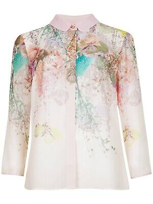 Ted Baker Wispy Meadow Print Shirt Light Pink (Size 4/ UK14)