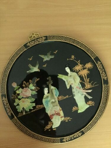 vintage Chinese framed round black lacquered 3-D stone? picture bird flower girl