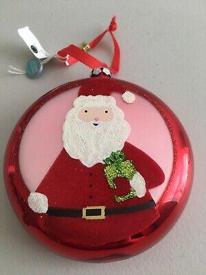 MARTHA STEWART COLLESTION Macy's Round Disk GLASS SANTA Christmas Ornament NWT