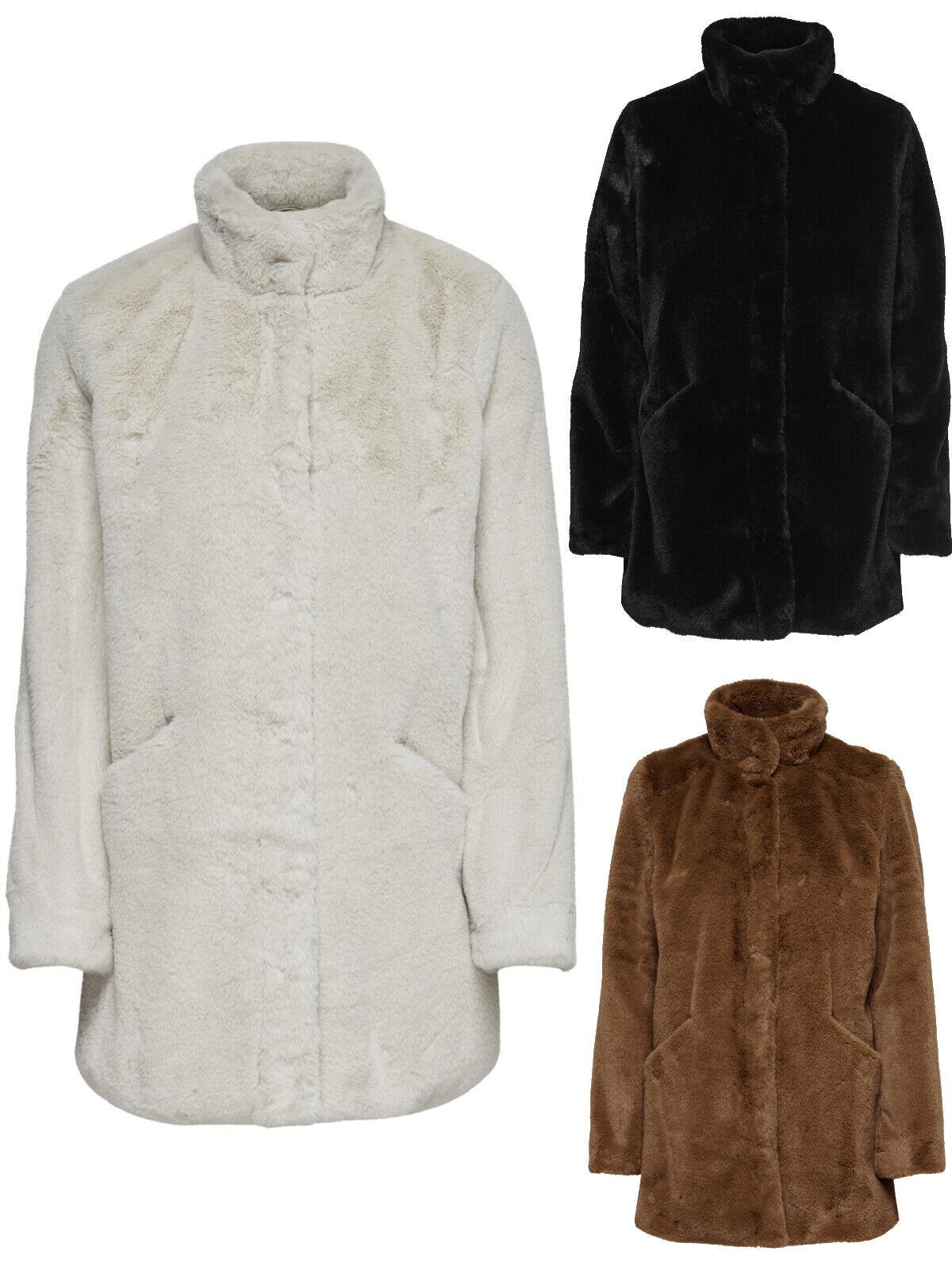 Only Damen Kunstfell Mantel Weste Jacke aus weichem Teddy Fell mit Stehkragen