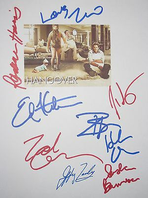 The Hangover Signed Film Script X9 Bradley Cooper Zach Galifianakis Ed Helms rpt