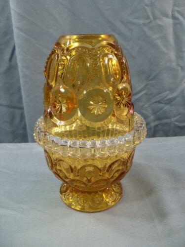 HTF Fenton For L. G. Wright Amber Glass 3 Piece Moon & Stars Fairy Lamp