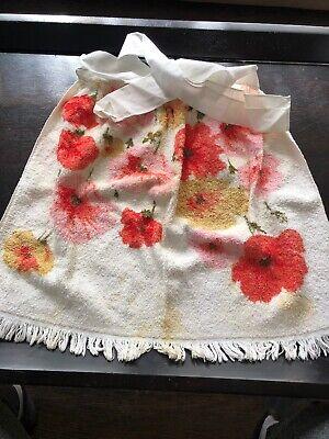 NEW Nicole Miller Green White Poppy Flower Reversible Bath Hand Towel Set 6pc