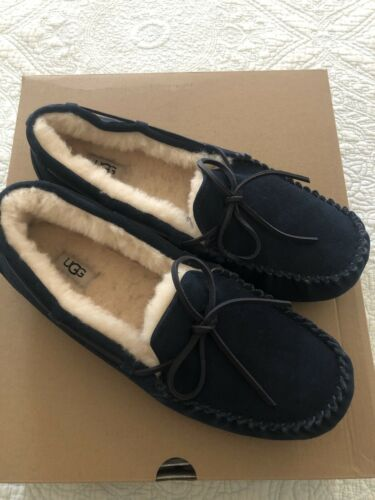 UGG Men's Olsen Suede Shearling Slippers Navy Blue Size 12 N