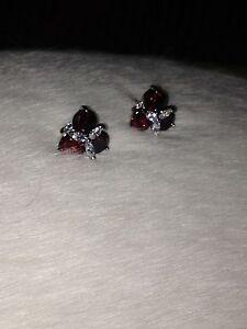 Garnet and white women's earrings