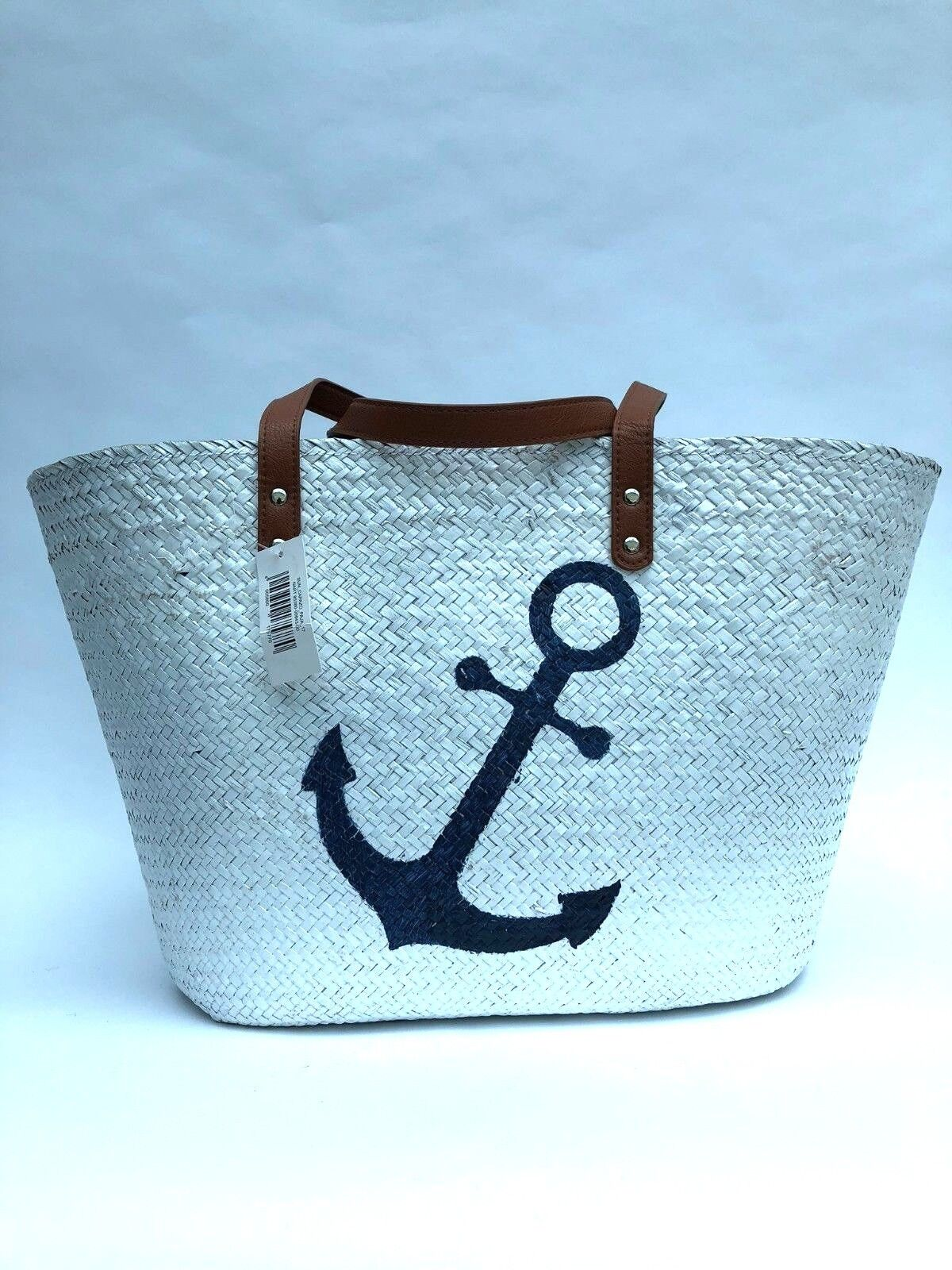 Details About White Straw Tote Beach Bag Per Hand Size Large
