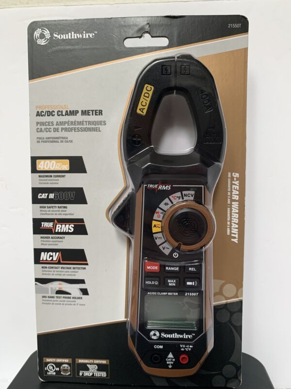 Southwire Professional AC/DC Clamp Meter CAT III 600 V 21550T NEW
