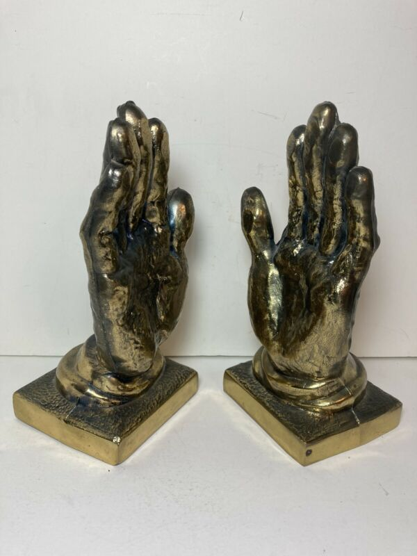 """Vintage Cast Metal Brass Tone Praying Hands Religious Bookends 8.75"""""""