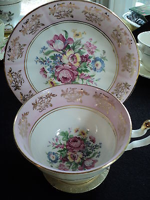 Vintage Regency England Pink with Gilt Trim and Bouquets Teacup and Saucer