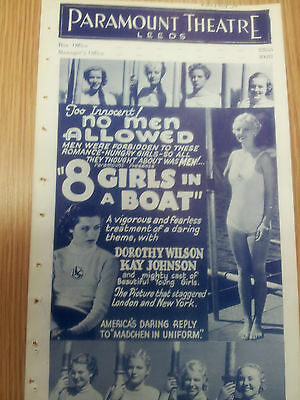 """1934 VINTAGE CINEMA PROGRAMME -Paramount Theatre, Leeds:"""" 8 Girls in a Boat"""""""