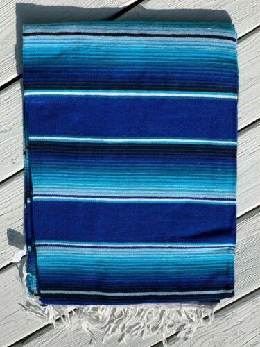 "Mexican Serape Sarape Fringed Blanket Bedspread 84"" x 60"" Blue Stripes"