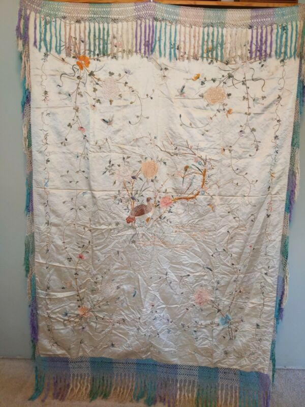 """Antique Silk Embroidered Fringed Flowers Birds Butterfly Piano Scarf 44"""" X 60"""""""