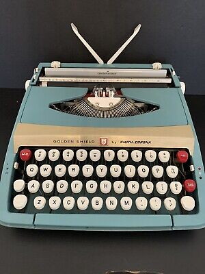 Vintage 1959 Golden Shield Manual Typewriter by Smith-Corona Rare Aqua Blue with