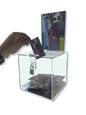 Clear Raffle Charity Ballot Donation Suggestion Box w/lock 6 x 6 x 6 w/ Header](Ballot Boxes)