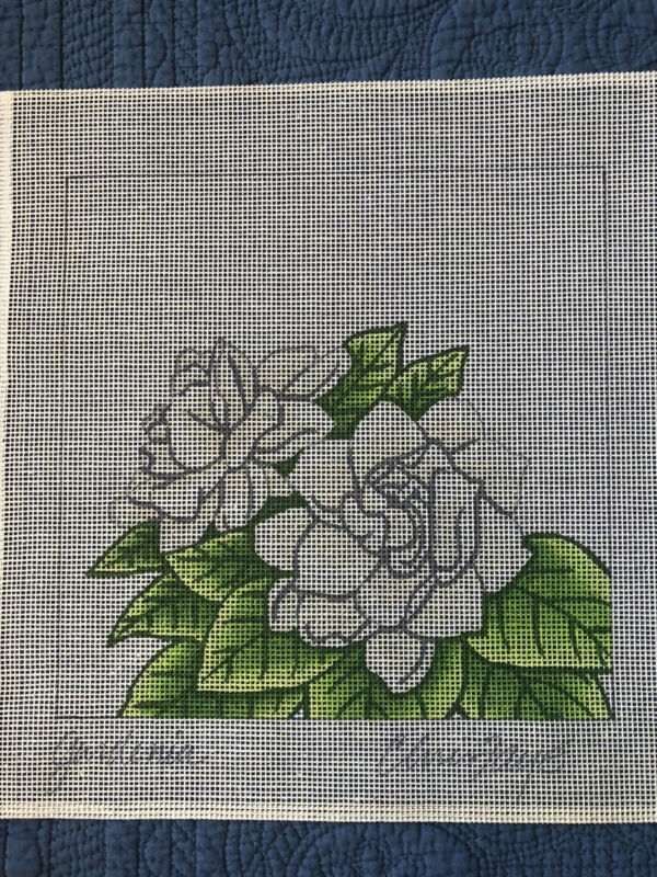 Hand Painted Needlepoint Canvas Gardenia