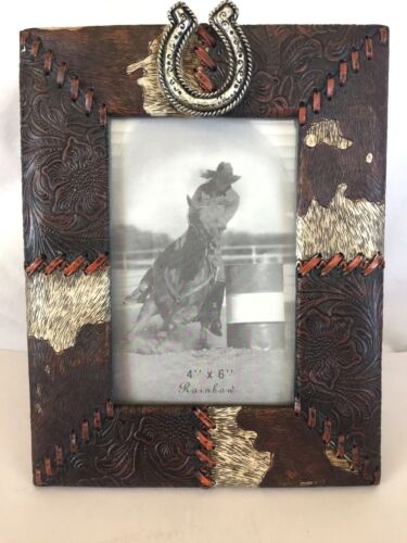 """Western Photo Frame, 4""""x6"""", Polyresin Looklike Cowhide and Leather Embossing"""