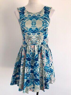 Keepsake The Label Size Large Blue Pink Sleeveless Fit & Flare Dress w Pockets