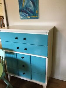 White & blue dresser with black handles. - 1 available