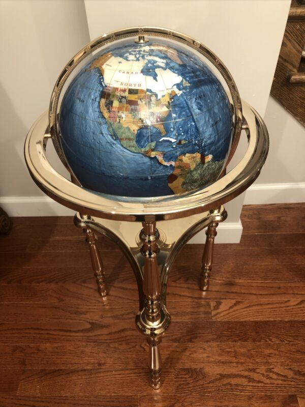 "ALEXANDER KALIFANO Mother of Pearl ~ Gemstone Inlayed  Globe 35"" Tall Rare New!!"