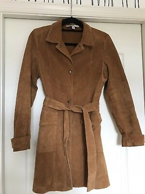 Size L - Zara Camel Suede Leather Trench coat Long Jacket Blazer Nearly New for sale  Hummelstown