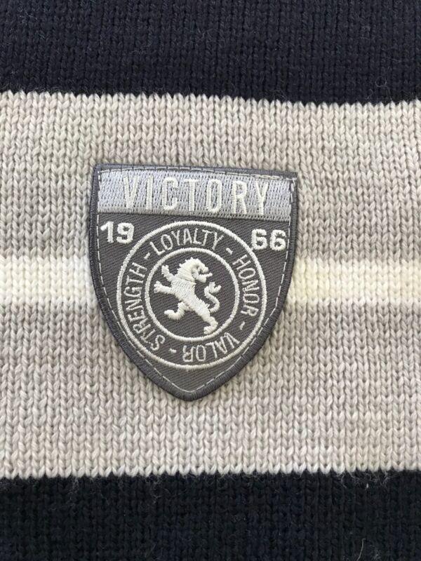 "Il Trenino (Italy) NWT 100% Wool Navy/Grey Victory Emblem Scarf 6""x42"""