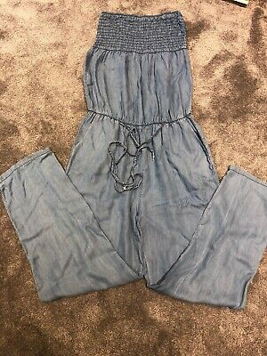 Chambray Jumpsuit Strapless