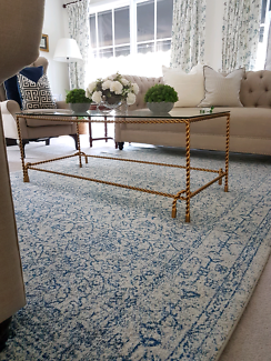 Blue and white large  traditional/contemporary  Turkish rug