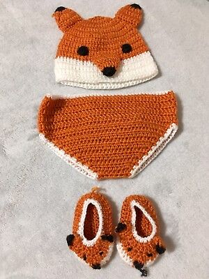 Knit Diaper Cover - Fox Hand Knit Baby Hat, Diaper Cover And Booties