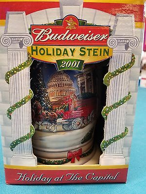 2001  Anheuser Busch  AB  Budweiser Holiday Christmas Beer Stein Clydesdales NIB