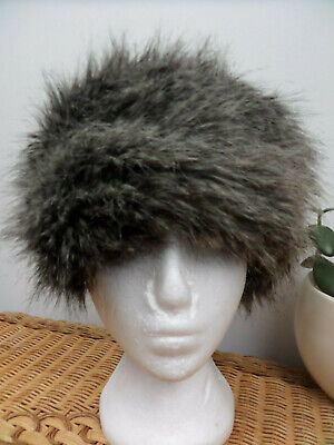 M&S Light Brown/Charcoal Faux Fur Russian Style Hat - Size S/M
