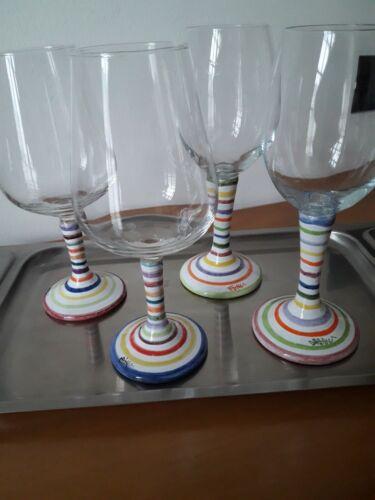 Calici da vino decorati a mano in maiolica bicchieri righe colorate idea regalo