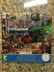 SEEK AND FIND TRAIN STATION 1000 pc Jigsaw Puzzle Dog Parrot Fruit Mystery Clock